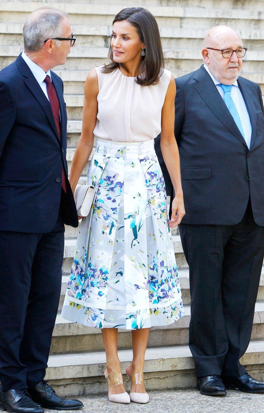 Queen Letizia Floral Skirt July 30, 2019