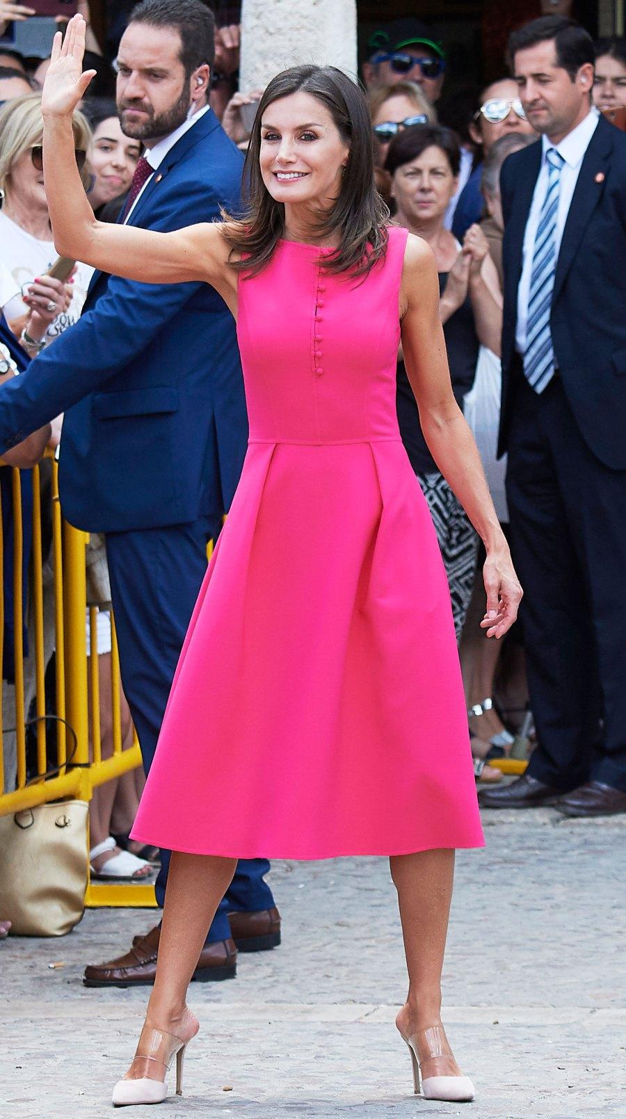 Queen Letizia Hot Pink Dress July 9, 2019