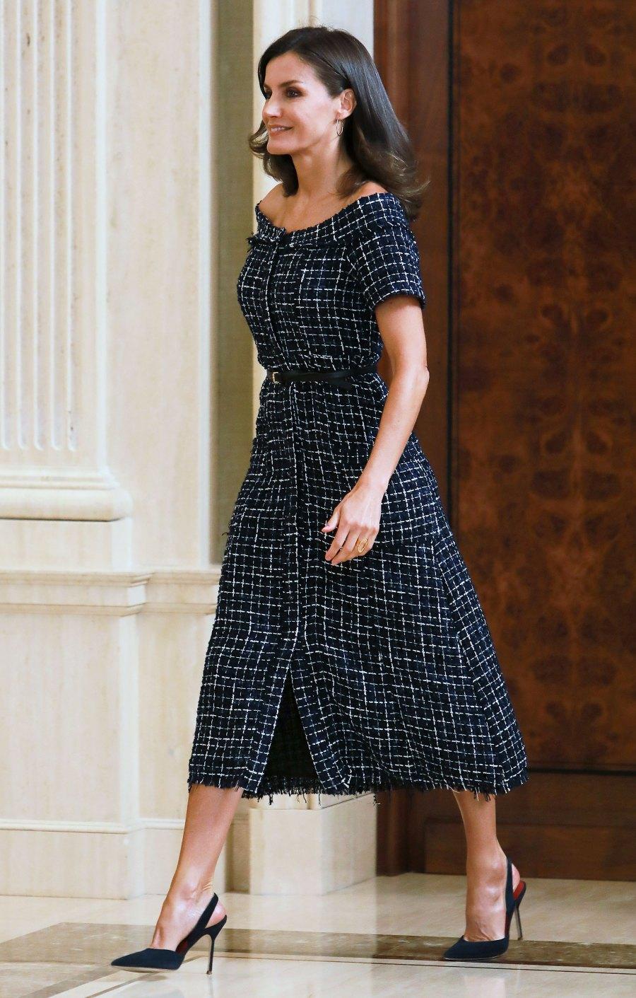 Queen Letizia Plaid Dress July 16, 2019