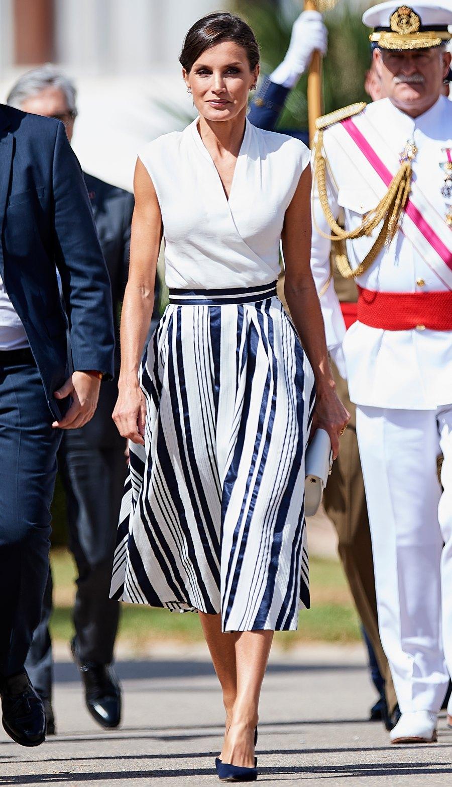 Queen Letizia Striped Look July 11, 2019