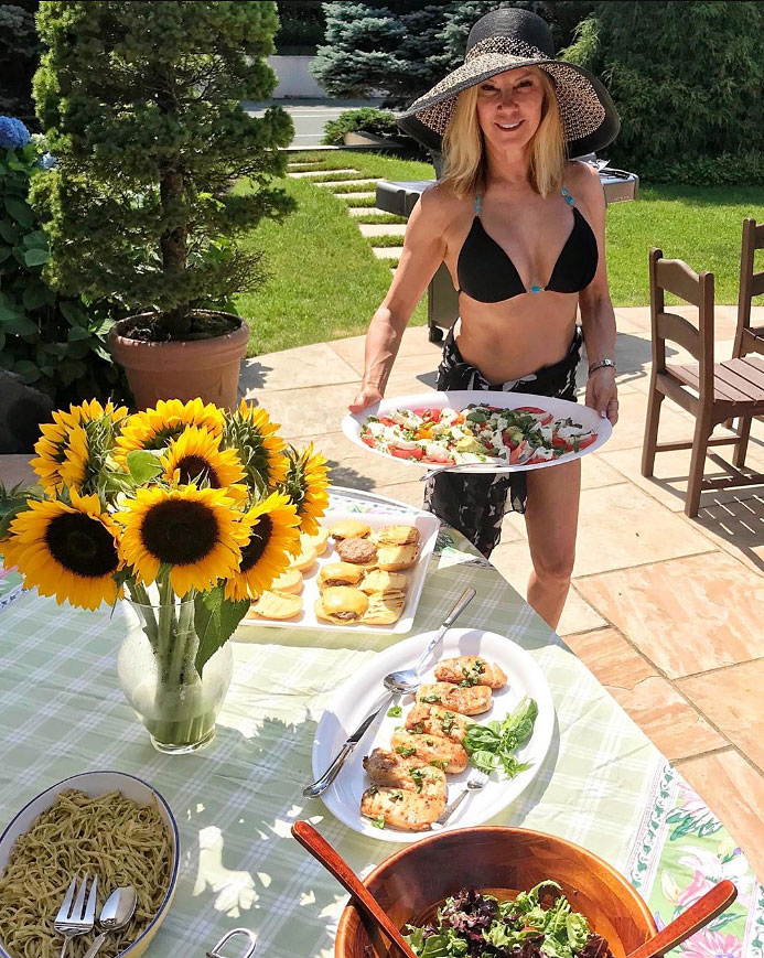Ramona Singer Black Bikini Food Sunflowers