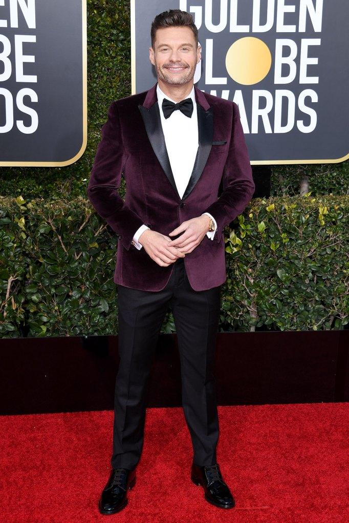 Ryan Seacrest Golden Globes Purple jacket Black Red Carpet Event Next Bachelor