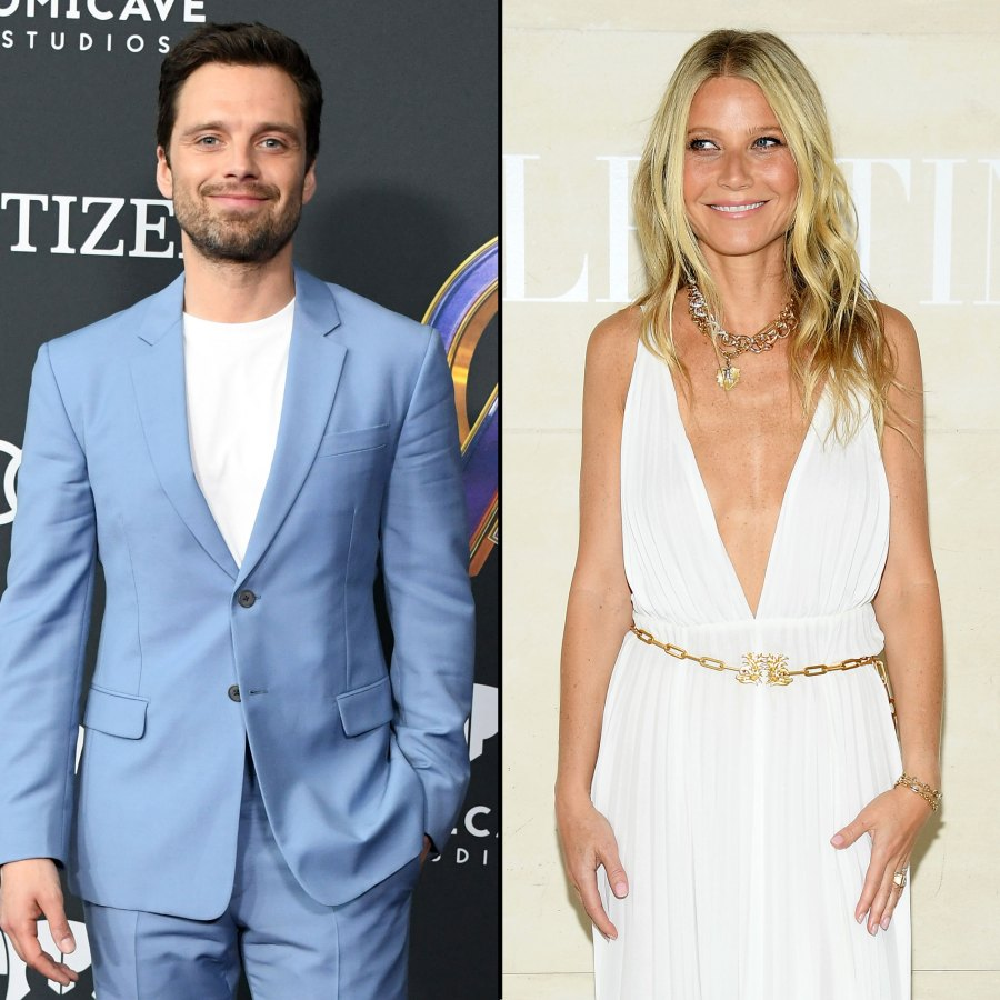 Sebastian Stan Light Blue Jacket and Pants with White Shirt and Gwyneth Paltrow White Low Cut Dress and Gold Belt