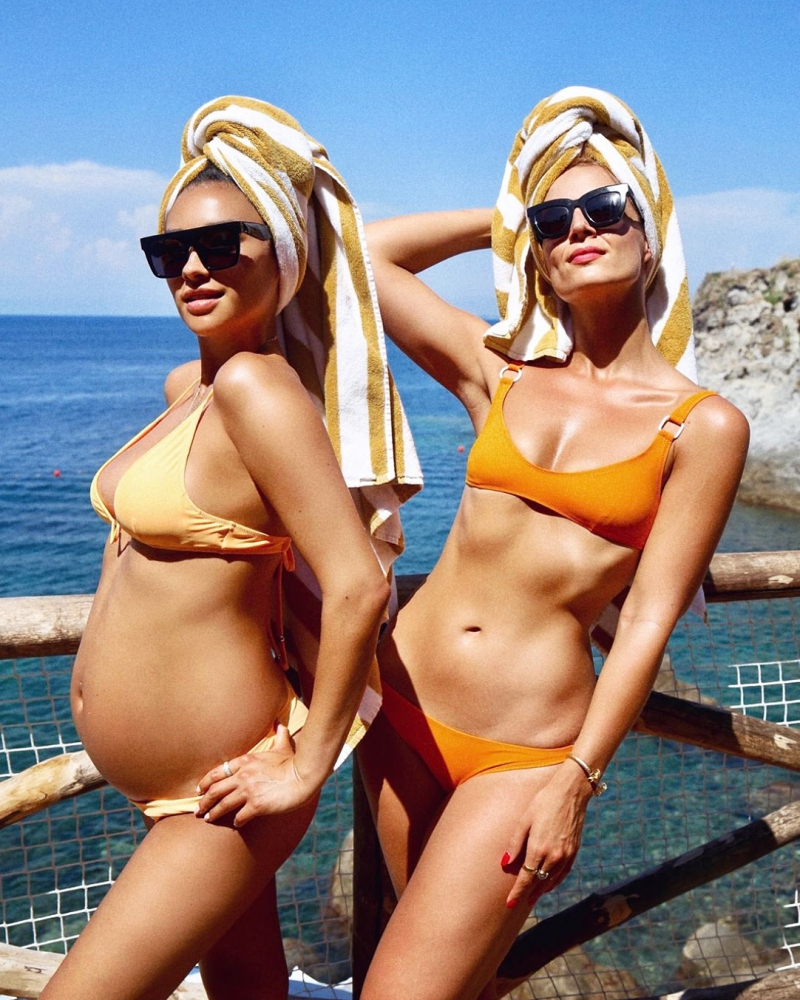 192b29ad755 Pregnant Celebrities Show Off 3rd Trimester Baby Bumps in Bikinis