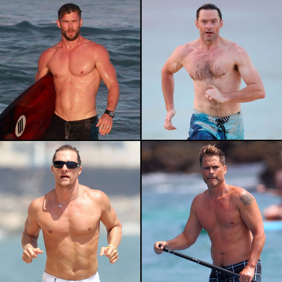Chris Hemsworth, Hugh Jackman, Matthew McConaughey, Rob Lowe Shirtless Dads