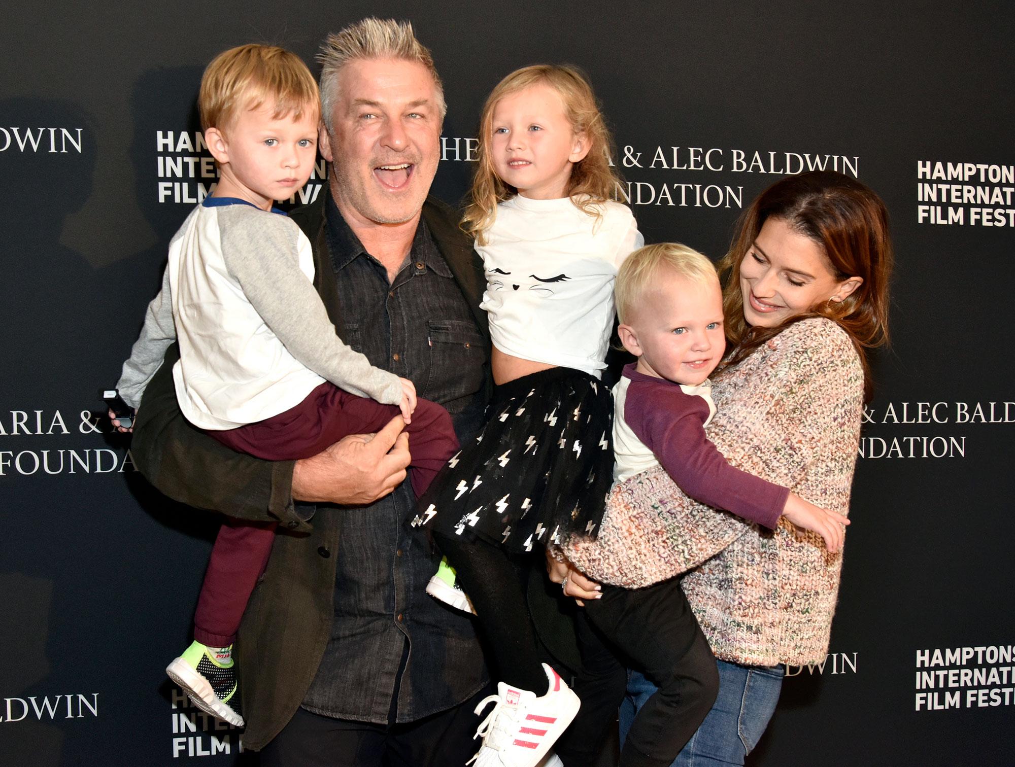 Alec Baldwin and Hilaria Baldwin with Children Rafael Carmen and Leonardo