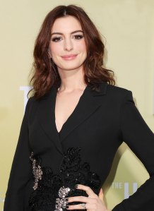 Anne Hathaway Black Sequin Suit May 8, 2019