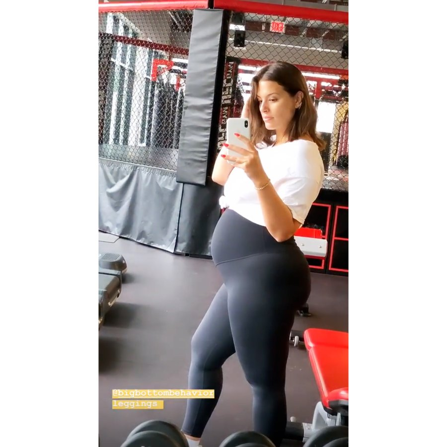Ashley Graham Zooms In On Baby Bump At Gym In Instagram Story