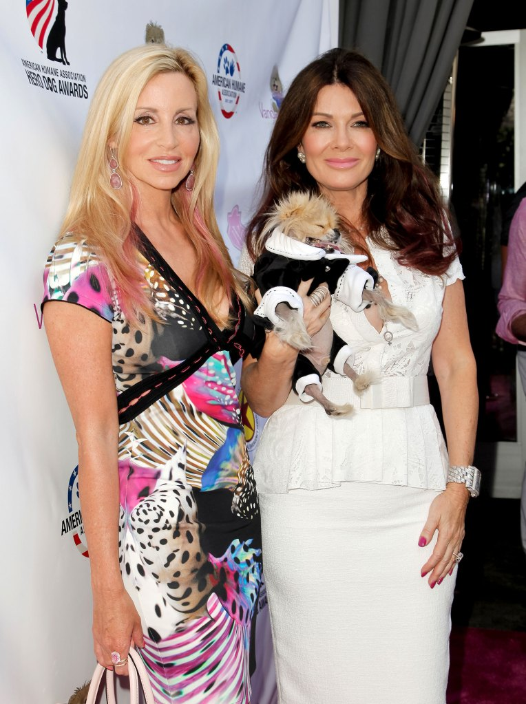 Camille Grammer and Lisa Vanderpump Holding Dog RHOBH