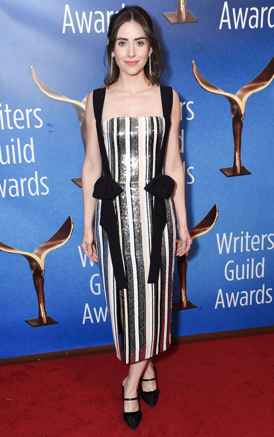 Celebs Wearing Stripes - Alison Brie February 17, 2019