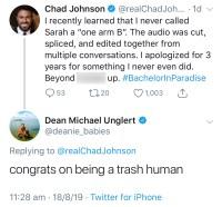 Chad Johnson Slams Bachelor Nation Twitter