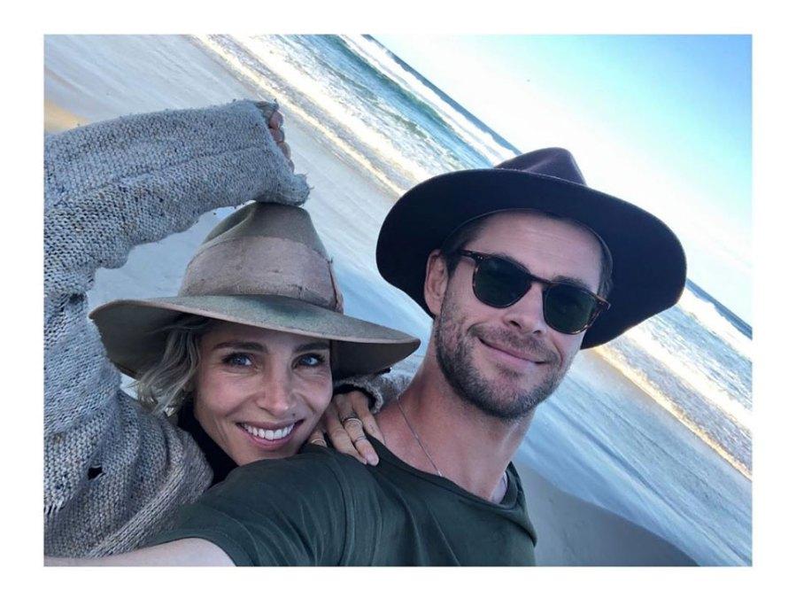 Elsa Pataky And Chris Hemsworth Birthday Instagram Selfie Brimmed Hats Sunglasses Ocean Beach