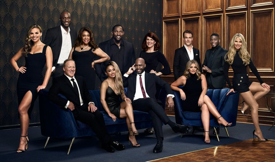 Dancing With The Stars Cast Group Photo Hannah Brown, Lamar Odom, Sean Spicer, Mary Wilson, Ally Brooke, ray Lewis, Karamo, Kate Flannery, James Van Der Beek, Lauren Alaina, Kel Mitchell, and Christie Brinkley