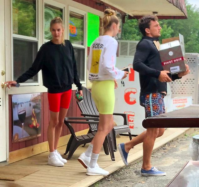 Gigi Hadid and Tyler Cameron Buying Liquor Wearing Shorts