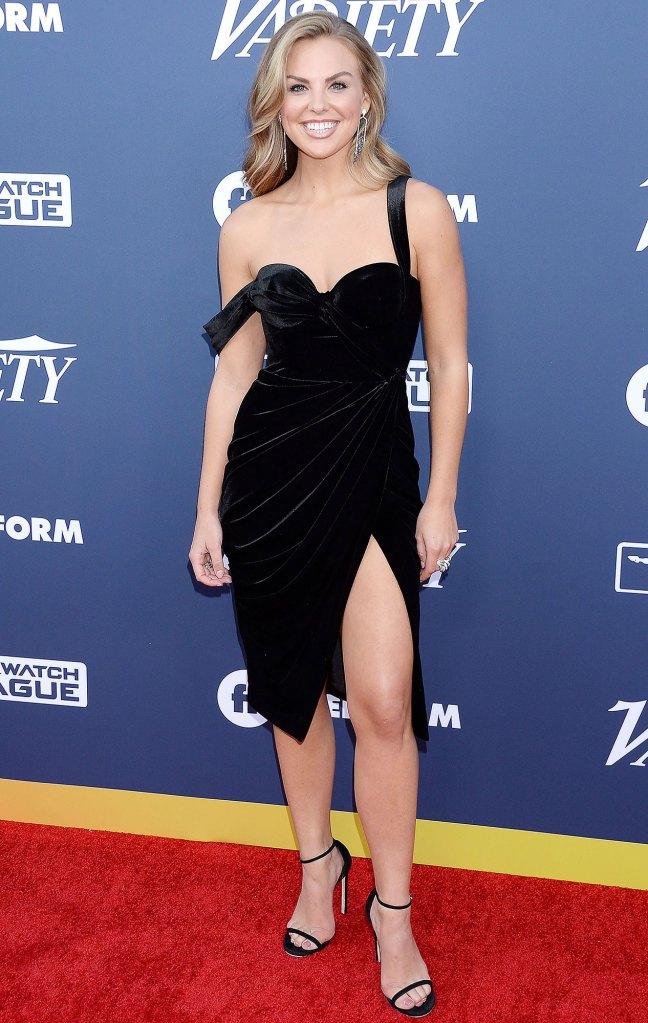 Hannah Brown Foot Pain Black Dress Off The Shoulder Black Heels Red Carpet