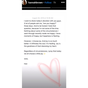 Hannah Brown Posts Candid Note About Why She's Not Happy