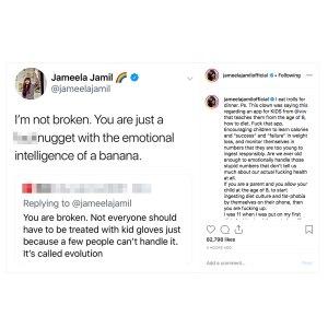 Jameela Jamil Says She Eats Trolls After Commenter Calls Her Broken