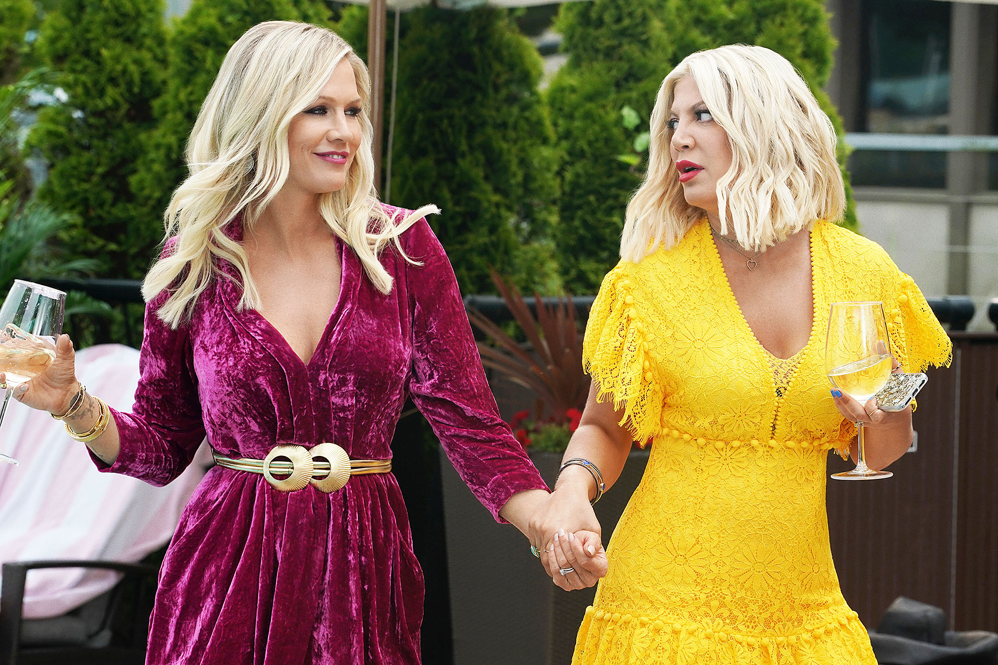 Jennie Garth and Tori Spelling on BH90210 Every Beverly Hills 90210 Reference