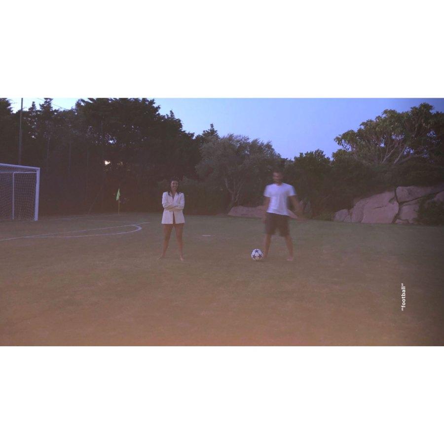 Kourtney Kardashian European Family Vacation Playing Soccer