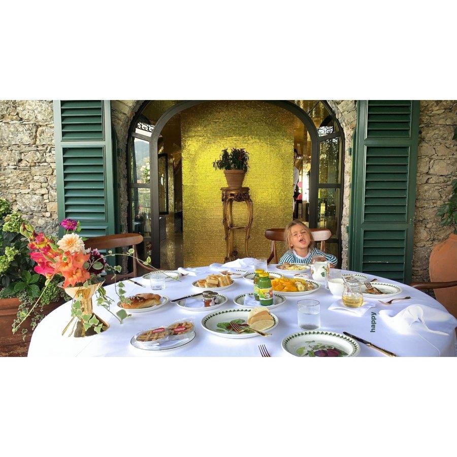 Kourtney Kardashian European Family Vacation Reign Disick Breakfast Table