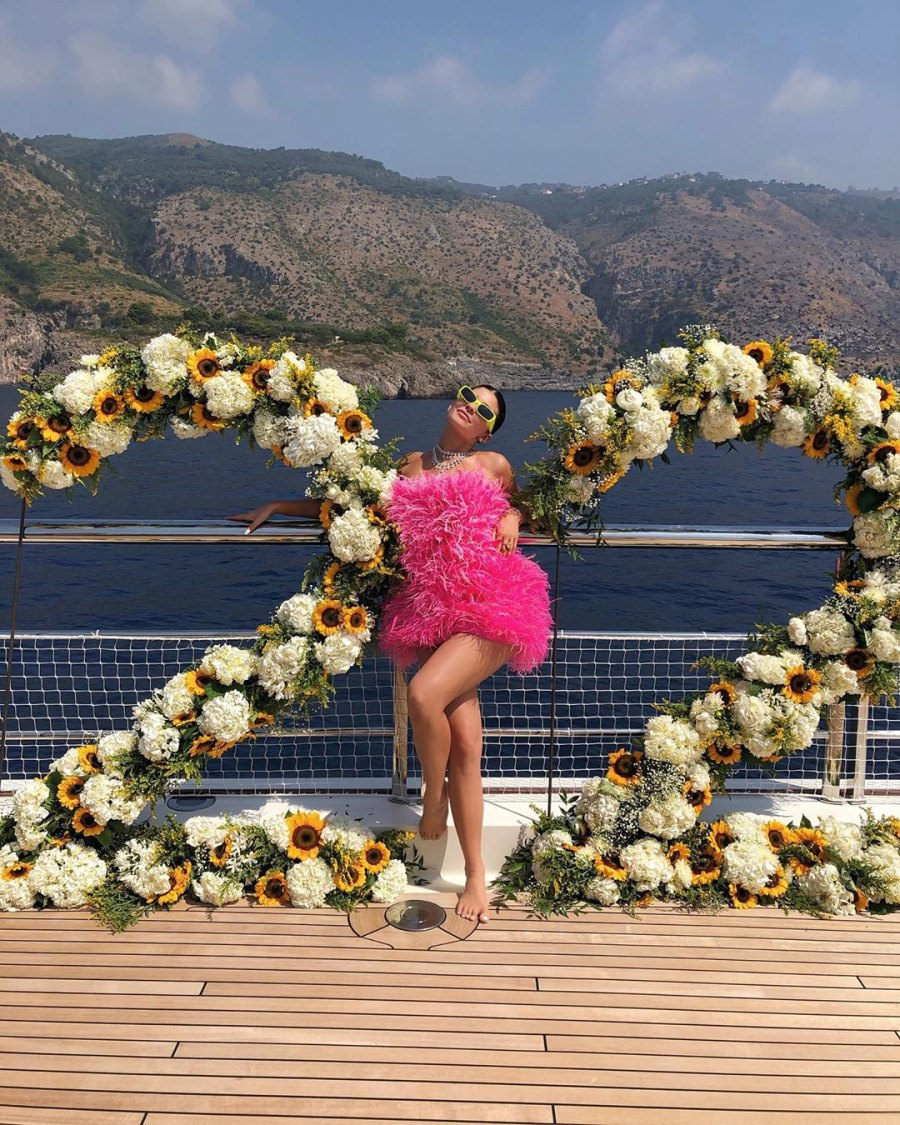 22 flowers and Pink Feather Dress Kylie Jenner Rings in Her 22nd Birthday With Shots, Exquisite Flowers and a Lavish Diamond Necklace From Travis Scott