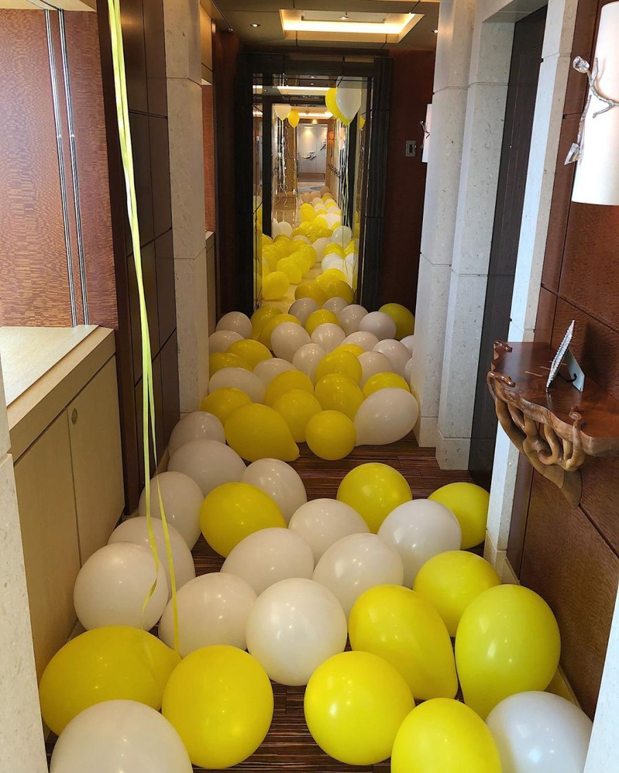 Yellow and White balloons Kylie Jenner Rings in Her 22nd Birthday With Shots, Exquisite Flowers and a Lavish Diamond Necklace From Travis Scott