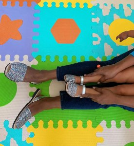 Mindy Kaling Twinning with Daughter Wearing Pons Shoes Instagram