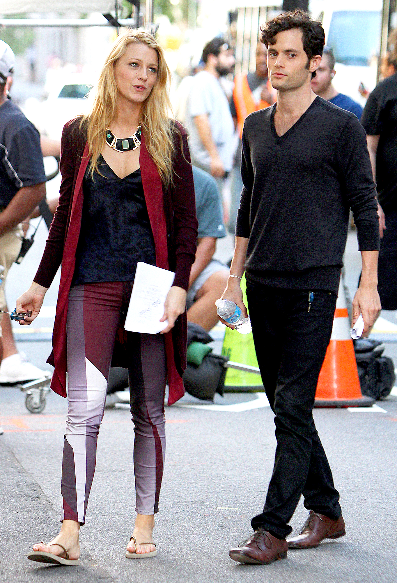 Penn-Badgley-Blake-Lively-Gossip-Girl-set