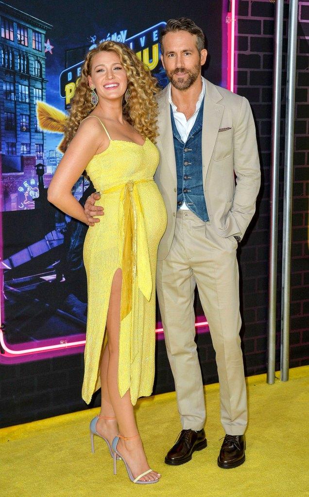 Pregnant Blake Lively Wearing a Yellow Dress and Ryan Reynolds Yellow Carpet Arrivals Pokemon Detective Pikachu