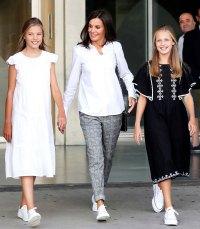 Queen Letizia White Blouse Plaid Trousers August 27, 2019