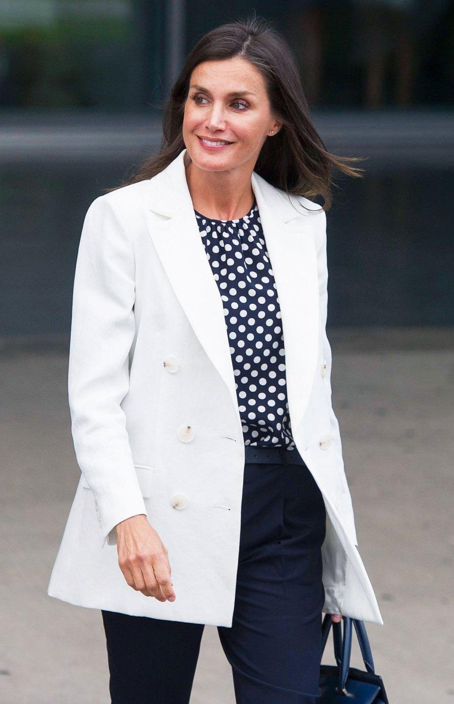 Queen Letizia White Coat August 25, 2019