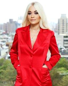 Rita Ora Red Suit March 16, 2019