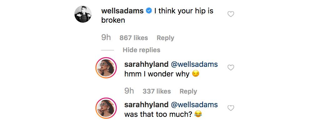 Oh, Boy! Sarah Hyland Jokes About Wells Adams Breaking Her Hip thumbnail