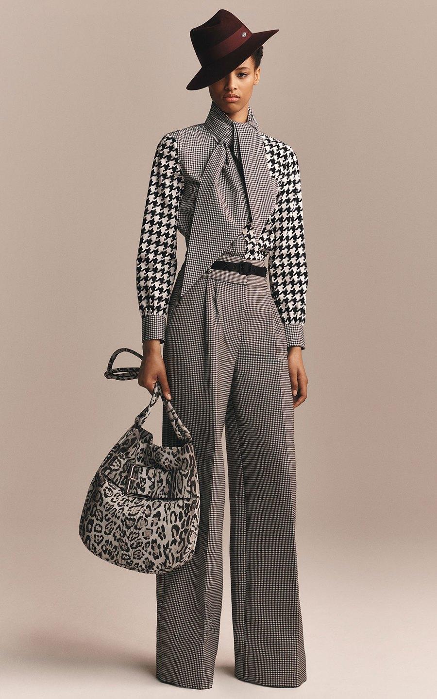 Zendaya x Tommy Hilfiger Collection - Zendaya Houndstooth Tie Neck Shirt and Trousers