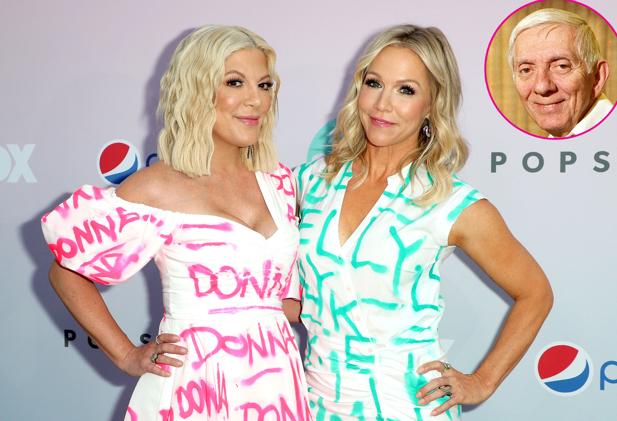 Tori Spelling and Jennie Garth Wearing Clothes With Donna and Kelly Written on Them Say Aaron Spelling Would Be Proud BH90210 - Tori Spelling, Jennie Garth and Aaron Spelling.