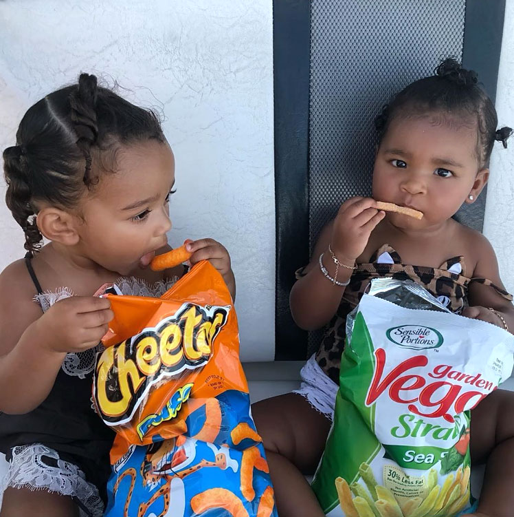 True and Chicago Eating Cheetos Puffs and Veggie Straws Cutest Kardashian Kids Moments