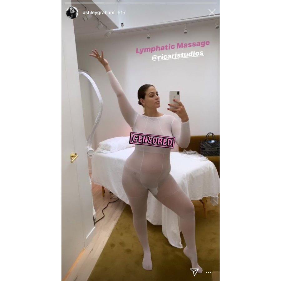 Ashley Graham Pregnancy Lymphatic Massage