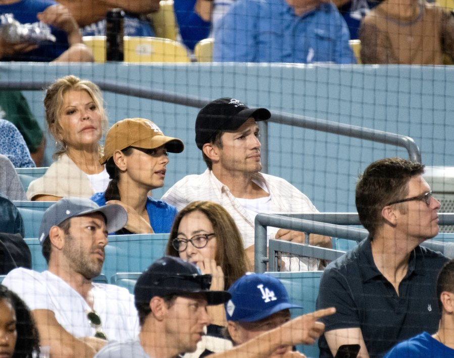 Ashton Kutcher Enjoys Dodgers Game With Mila Kunis After Demi Revelations