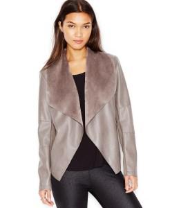 Bar III Flyaway Faux-Leather Jacket Grey