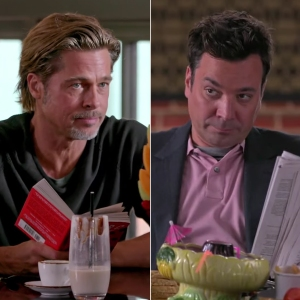 Brad Pitt and Jimmy Fallon Have a Gentleman's Food Fight on 'Tonight Show'
