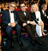 Eugene Levy Daniel Levy and Catherine O'Hara Inside Emmys 2019