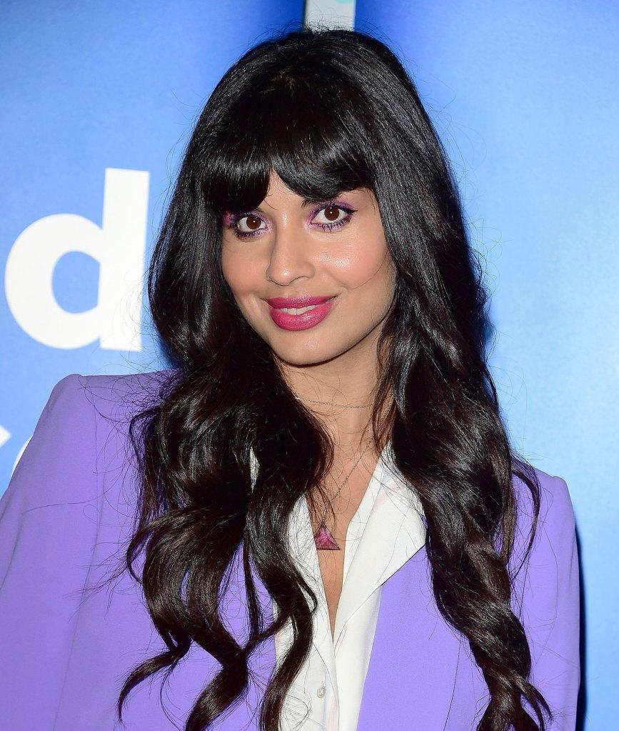Jameela Jamil Wearing Purple jacket
