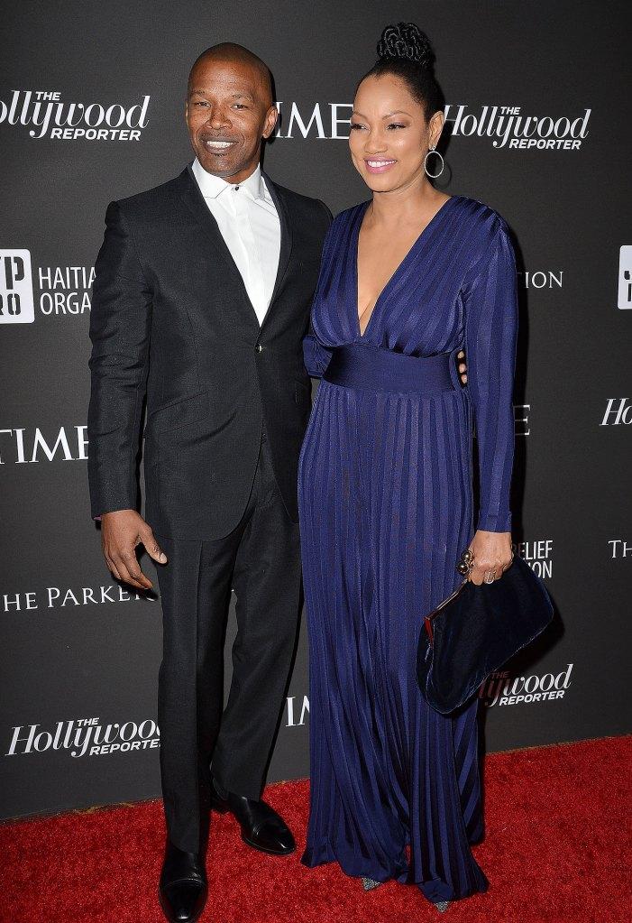 Jamie Foxx Black Suit Tux White Shirt Is Single Says Garcelle Beauvais Stripe Blue Dress