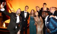 Tony Hale and Julia Louis-Dreyfus take a selfie with the cast of VEEP Inside Emmys 2019