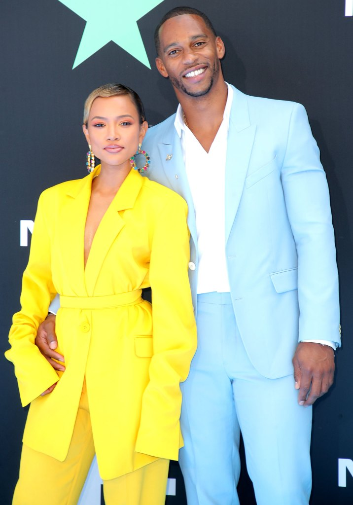 Karrueche-Tran-Yellow-Outfit-and-Victor-Cruz-Baby-Blue-Jacket-and-Pants-BET-Awards
