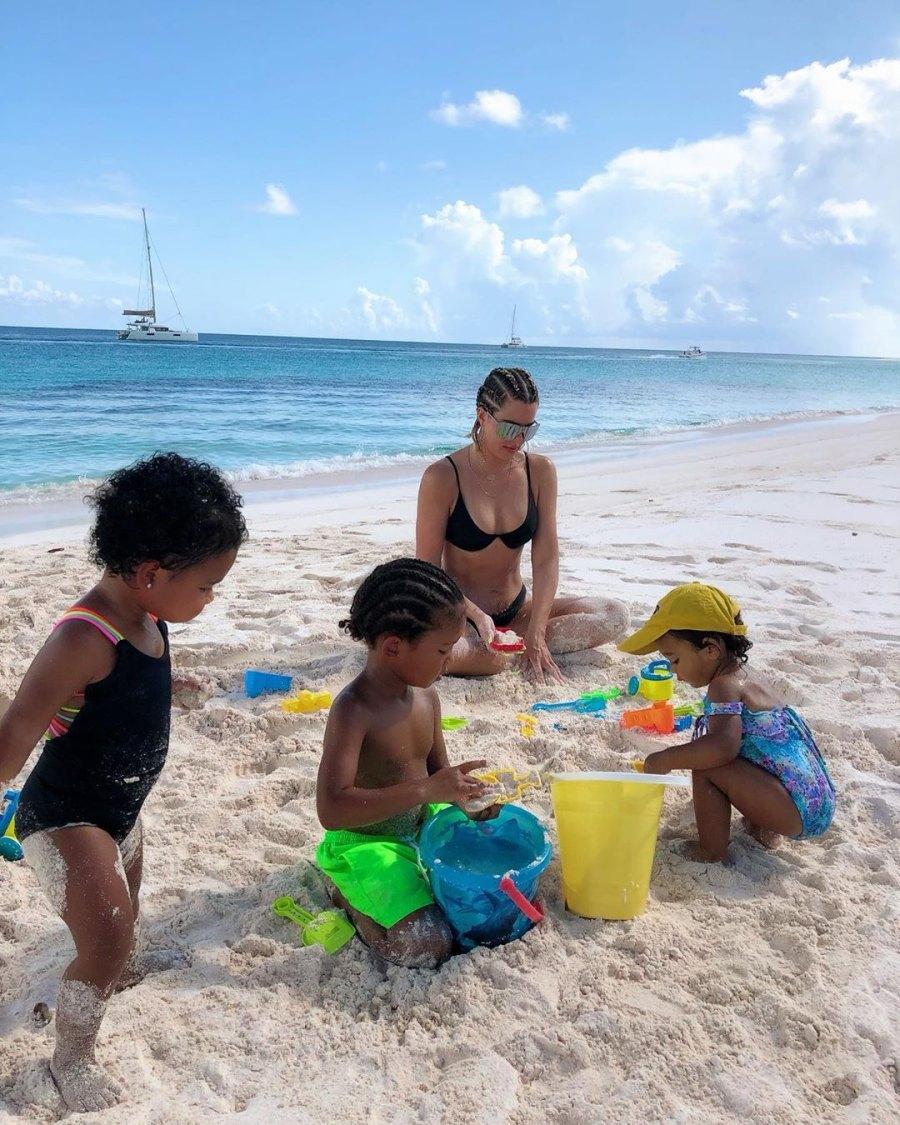 Khloe Kardashian Plays in Sand with Chicago, True, Saint