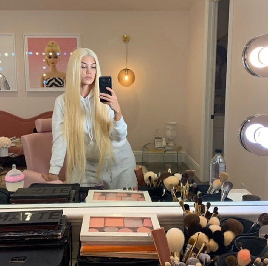 Kourtney Kardashian Long Blonde Wig Instagram September 28, 2019
