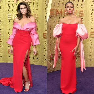 Mandy Moore and Susan Kelechi Nearly Identical Dresses Emmys 2019