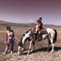 North West Album Horse Riding With Chicago and Kim Kardashian West Wyoming Instagram