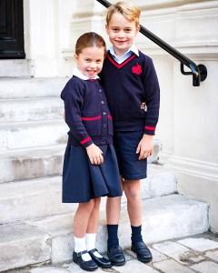 Prince George Princess Charlotte Pose Adorable 1st Day School Pic